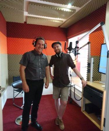 Aufnahme eines Radiospots zum Thema digitale Arbeitsprozesse